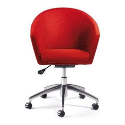 "Artifort - Megan Mid-Back Task Chair - An elegant armchair for conference room or dining room. The seating shell is closed, with an open base available in chrome or powder coating. Either as a low armchair with four legs or a sledge base or as a conference chair on castors, the Megan is always comfortable. Features: -Chairs collection. -Base features polished aluminum finish. -Height adjustable. Specifications: -Seat height: 17.32"" - 20.47"". -Overall dimensions: 31.1"" - 34.25"" H x 24"" W x 25.59"" D."