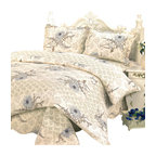 Blancho Bedding - [Spring Temptation] 100% Cotton 3PC Floral Patchwork Quilt Set (Full/Queen Size) - Set includes a quilt and two quilted shams (one in twin set). Shell and fill are 100% cotton. For convenience, all bedding components are machine washable on cold in the gentle cycle and can be dried on low heat and will last you years. Intricate vermicelli quilting provides a rich surface texture. This vermicelli-quilted quilt set will refresh your bedroom decor instantly, create a cozy and inviting atmosphere and is sure to transform the look of your bedroom or guest room.