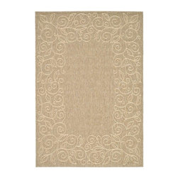 Safavieh - Polypropylene Rug in Coffee (9 ft. 6 in. x 6 ft. 7 in.) - Size: 9 ft. 6 in. x 6 ft. 7 in. Synthetic fiber. Machine made weave. Power loomed construction. Transitional sand colored design. Made in Belgium. Safavieh takes classic beauty outside of the home with the launch of their Collection. These rugs are suitable for anywhere inside or outside of the house. To achieve more intricate and elaborate details in the designs, Safavieh used a specially-developed sisal weave. Care Instructions: Vacuum regularly. Brushless attachment is recommended. Avoid direct and continuous exposure to sunlight. Do not pull loose ends; clip them with scissors to remove. Remove spills immediately; blot with clean cloth by pressing firmly around the spill to absorb as much as possible. For hard-to-remove stains professional rug cleaning is recommended.