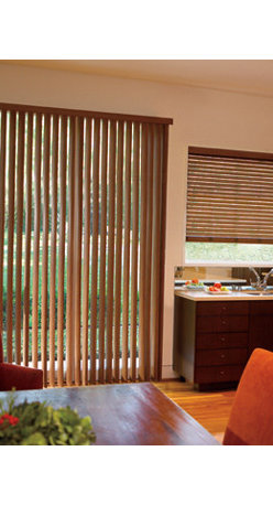 Levolor - Levolor Visions Faux Wood Vertical Blinds - Vertical Blinds - Levolor Visions Faux Wood Vertical Blinds let you coordinate your large windows and patio doors with other windows in your home.  The Visions Vertical Blind collection features realistic stain colors and coordinates directly to Levolor's 2-inch Visions Faux wood blinds, so you don't have to have mismatched window treatments on your patio door.