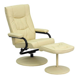 Flash Furniture - Flash Furniture Contemporary Cream Leather Recliner & Ottoman w/ Leather Wrapped - Recline in your favorite position with this comfortable recliner and ottoman set. This set features thickly padded arms and leather wrapped bases. This set is not only perfect in the home, but makes for a great addition in the office when you need to relax for a bit. The durable leather upholstery allows for easy cleaning and regular care. [BT-7862-CREAM-GG]