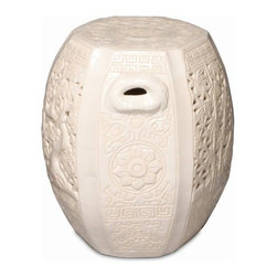 """The Ivory Company - Oriental Hexagon Garden Stool - Our ceramic stool, with its traditional Asian elements, creates a serene and inspiring vibe in your home or garden. This sturdy design has side handles, making it easier to place as a casual seat or side table. Suitable for use indoors or out. White ceramic with a high-gloss finish.These traditional inspired designs of an oriental staple make for handsome and distinctive accent pieces for the home. Enjoy these in and out of the house - in a formal living area, garden or in a vestibule. The sturdy functionality is only second to the aesthetic appeal of their timeless shape and style. Each Garden Stool design has been carefully hand-picked for its distinctive styling and its overall aesthetics.This is guaranteed to add beauty, style and add some practical functionality to any area of your home. Measures 14x17""""H"""