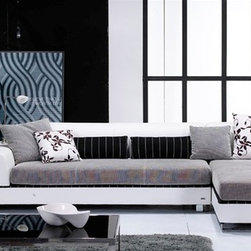 Mezzano Two-Toned Sectional 2118W - Refreshing and stylish, this Mezzano Two-Toned Sectional can revive any home decor.