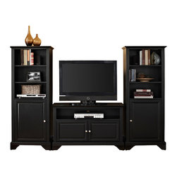 """Crosley - LaFayette 42"""" TV Stand and Two 60"""" Audio Piers in Black Finish - Crosley's 42"""" TV stand and audio pier combination offers a unique solution for both display and storage. Extremely versatile, this combo features adjustable shelves allowing you to effortlessly organize by design. Two audio piers save space yet provide abundant storage options, while the TV stand offers a cord management system that tames the unsightly mess of tangled wires."""