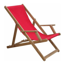 Anderson Teak - Beach Folding Armchair w/ Canvas (Sold as a pair) - Our Beach Folding Armchair is designed for relaxing in any place as well as in the beach. Like our other folding chairs, this chair also fold for moving and storing purposes so you can accommodate yourself when you need to and store the set away when you don't need it. Made in solid construction of plantation kiln dried teak with Sunbrella solid canvas fabric for your choice, which makes this chair a wise choice for your relaxing seating needs. The chair can be adjusted in 4 different positions to make your relaxing time more enjoyable. Add any kind table of your choice for a complete set.