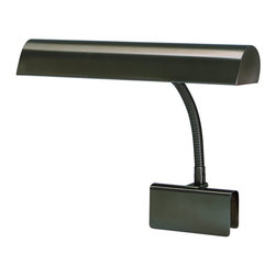 """House Of Troy - House Of Troy Grand Piano Transitional Clip On Table Lamp X-18-41PG - Grand Piano lamp with 9 foot brown cord and switch on shade. Adjustable 8.5"""" gooseneck, shades swivels to direct light."""