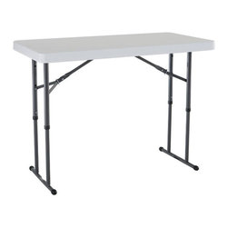 Lifetime - 4 ft. Adjustable Folding Table in White & Gra - Materials made of powder-coated steel and high-density polyethylene (HDPE) plastic. Adjusts to 22 in. (children's height), 29 in. (table height) and 36 in. (countertop height). Patented lightweight design. Indoor and outdoor adjustable height folding. Stain resistant and easy to clean. No assembly required. Meets ANSI/BIFMA standards. 10-Year limited warranty. 48 in. L x 24 in. W x  22 to 36 in. H ( 28 lbs. )A refreshment table, a scrapbooking table, or an outdoor food preparation table-this adjustable work table is built to serve a variety of purposes. This adjustable work table is constructed of high-density polyethylene plastic (HDPE) with honeycombed tack-off design for extra rigidity and powder-coated steel so it is weather resistant and can hold up to extreme wear and tear. When you purchase a Lifetime adjustable work table, you're getting the best utility table on the market���an innovative design with the durability, versatility, and portability that Lifetime products are known for.