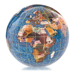 Kalifano - Kalifano Marine Blue 4-in. Gemstone Globe Paperweight - GPW110G-MB - Shop for Paperweights from Hayneedle.com! Keep papers in place or add a decorative accent to your desk with the Kalifano Marine Blue 4-in. Gemstone Globe Paperweight. Made with hand inlaid gemstones this globe features a stunning blue sea surrounding colorful landmasses. It also features gold longitude and latitude lines as well as geographical information. A flat bottom keeps it in place.About Alexander KalifanoOver the span of four generations since 1912 family-owned Alexander Kalifano a vertically-owned business has been delighting customers with home decor products and jewelry collections. Headquartered in Las Vegas the company offers unique high-quality products at the best possible value.