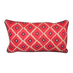 Silver Nest - Red Diamond Down Pillow- 14x26 - 100% Linen, Woven. Set of two pillow covers with hidden zippers. Feather inserts included. Inserts are 95/5. Priced individually, must be sold as set of 2.