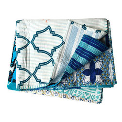 Aqua Rali Blanket - If you don't own a Kantha throw yet, I think this blue one is a great choice. The patterns aren't too cluttered and look wonderful together. Plus, blue is a surprising and beautiful choice for color.