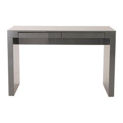 "Euro Style - Donald Desk 47''X 20'' - Gray Lacquer - Basic functionality in the perfect form. Almost 4 feet wide it's plenty of desk for most tasks. The double drawers are handy and almost hidden. The desk is only 20"" deep which makes it perfect for smaller spaces."