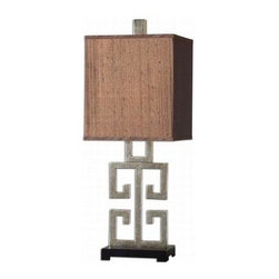 Global Direct - Bedroom Lamp: 31 in. Greek Key Table Lamp 26859-1 - Shop for Lighting & Fans at The Home Depot. This abstract lamp was inspired by the Greek alphabet. The base is finished in a lightly antiqued silver champagne leaf with a matte black foot. The rectangle box shade is a silken chocolate bronze fabric
