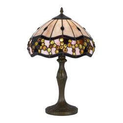 Cal Lighting - Cal Lighting BO-2375AC Tiffany 1 Light Pedestal Base Table Lamp - Features: