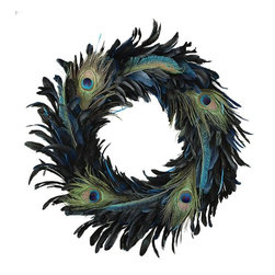 Home Decorators Collection - Peacock Feather Wreath - Hang this beautiful blue and green Peacock Feather Wreath on your mantel, door or in your hallway for a unique holiday look, or use it year-round to infuse your home with the glamour of peacock style. This lush wreath features thick sprays of blue and green feathers. Crafted of feathers and foam. Vivid blue/green color palette.