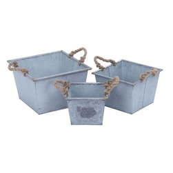 Benzara - Planter Designed with Rope Handles - Set of 3 - This metal planter set of three in a broad shape gives your garden a charm and grace unknown before. A must have accessory if you want to infuse a natural looking your garden, this set of three proves to be a perfect holder for your exquisite plants. Offering an earthy appeal and natural look, these planters are perfect for both conventional and contemporary decor and indoor and outdoor usage. Place them in your garden or your living area, they reflect your love for originality and simplicity. A sturdy high quality metal goes in to the construction of these planters to offer them long life, durability and strength. Adding charm to your decor, rest assured of their association with you for years to come.