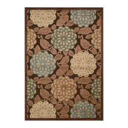 """Nourison - Nourison Graphic Illusions GIL13 2'3"""" x 3'9"""" Brown Area Rug 13285 - This exquisitely hand-carved area rug features high-low loop pile construction for a terrific texture and tone. Its over-scale chrysanthemum-pattern gleams and glimmers in luminous hues of blue, beige, cream, jade and khaki on a rich chocolate brown background."""