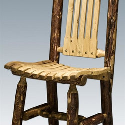 "Montana Woodworks - Wooden Patio Chair - Hand crafted. Heirloom quality. Edge glued panels. Solid lodge pole pine legs. Made from American grown wood. Stained and lacquered finish. Made in USA. No assembly required. Seat height: 18 in. H. Overall: 19 in. W x 18 in. D x 36 in. H (20 lbs.). Warranty. Use and Care InstructionsThe perfect addition to the Montana woodworks patio table, this chair is handcrafted using solid, American grown wood. In a set of four around the table or alone on the back porch, these chairs will provide hours of comfortable standardnomic seating. At the front of the chair with a slight backward slope for all day comfort. Finished in the ""Glacier Country"" collection style for a truly unique, one-of-a-kind look reminiscent of the Grand Lodges of the Rockies, circa 1900. First we remove the outer bark while leaving the inner, cambium layer intact for texture and contrast. Then the finish is completed in an eight step, professional spraying process that applies stain and lacquer for a beautiful, long lasting finish. Comes fully assembled. 20-year limited warranty included at no additional charge."