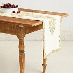 """Anthropologie - Gold-Embroidered Table Runner - CottonDry clean90""""L, 16""""WImported"""