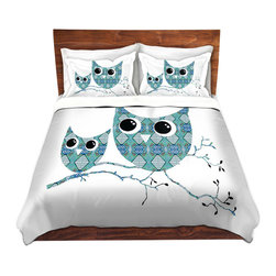 DiaNoche Designs - Duvet Cover Twill by Susie Kunzelman - Owl Argyle Teal - Lightweight and soft brushed twill Duvet Cover sizes Twin, Queen, King.  SHAMS NOT INCLUDED.  This duvet is designed to wash upon arrival for maximum softness.   Each duvet starts by looming the fabric and cutting to the size ordered.  The Image is printed and your Duvet Cover is meticulously sewn together with ties in each corner and a concealed zip closure.  All in the USA!!  Poly top with a Cotton Poly underside.  Dye Sublimation printing permanently adheres the ink to the material for long life and durability. Printed top, cream colored bottom, Machine Washable, Product may vary slightly from image.
