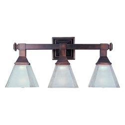 Joshua Marshal - Three Light Oil Rubbed Bronze Frosted Glass Vanity - Three Light Oil Rubbed Bronze Frosted Glass Vanity