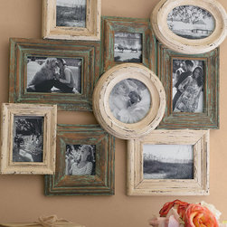 Chateau Collage Frame - Collage frames offer an exciting and easy way to display your treasured photos. We measured, arranged and artfully distressed these charming frames for you - just pop in your pix and hang the all-in-one unit on your wall. Chateau style is an open mix of nine green and cream frames in a variety of shapes and sizes. Constructed of engineered hardwoods with a beautiful hand-painted and distressed finish.
