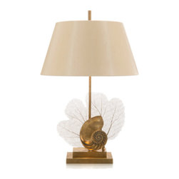 John Richards - John Richards Brass Sea Fan And Shell Design Table Lamp - Table Lamp with Brass Sea Fan And Shell Design