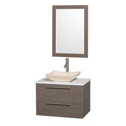 Wyndham - Amare 30in. Wall Vanity Set in Grey Oak w/ White Stone Top & Ivory Marble Sink - Modern clean lines and a truly elegant design aesthetic meet affordability in the Wyndham Collection Amare Vanity. Available with green glass or pure white man-made stone counters, and featuring soft close door hinges and drawer glides, you'll never hear a noisy door again! Meticulously finished with brushed Chrome hardware, the attention to detail on this elegant contemporary vanity is unrivalled.