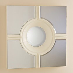 """Global Views - Global Views Bull's Eye Cross Mirror White - The Global Views Bull's Eye mirror hits the target for sharp style. Framing a round center, the white accessory's cross design displays transitional sophistication. 24""""W x 2.5""""D x 24""""H; Wood frame; Hangs with 12"""" metal wall cleat (provided)"""