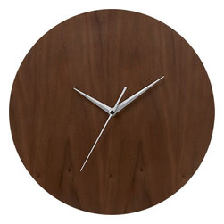 "Walnut 13"" Wall Clock - A minimalist wall clock that balances sleek aluminum hands and a beautiful walnut face is perfect for an industrial loft or ultra modern office space."