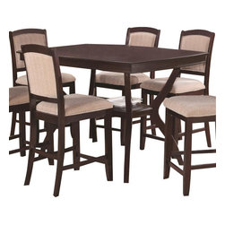 "Coaster - Counter Height Table (Cappuccino) By Coaster - This casual dining table makes the perfect center piece in your dining room or casual kitchen space. Features: rectangular top. gentle curved edges, and storage shelf at the base. cappuccino finish. Matching chairs available separately. Dims: 42"" X 72"" X 36""."