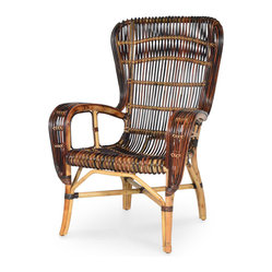 Palecek - Retro Rattan Wing Chair Multi Color - Rattan frame with skin on pencil pole rattan details and rattan bindings. Rattan details are hand-dyed to achieve multiple colors. Color of rattan may vary.