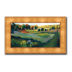 """Patrice Procopio - Nashotah Park 16 x 28 Print - """"Nashotah Park"""" is a landscape canvas giclee by Patrice Procopio. We present this to you in a gold panel frame with raised back and lip. This makes an overall framed size of 16 x 28."""