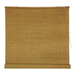 Oriental Furniture - Woven Jute Roll Up Blinds - (72 in. x 72 in.) - Woven Jute is a rustically beautiful all natural plant fiber, we've had woven into beautiful rustic window treatments. Roll up blinds are a particularly convenient design, both easy to operate and easy to install. Install right on the wood frame of the window, overhanging the opening, mounted on simple metal hooks. Convenient, rustically attractive inexpensive window treatments almost completely opaque, providing privacy and blocking light. Note that the large size blinds also work well as a ceiling mounted style retractable room divider or privacy screen.Roll up design retractable window blinds block light and provide privacyBeautiful cross weave natural jute fiberSimple design is easy to operate and installs in minutes