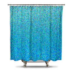 Shower Curtain HQ - Catherine Holcombe Blue Raspberry Fabric Shower Curtain, Standard Size - This bright blue shower curtain has tiny mosaic specks of different shades of blue, green and turquoise. The unique design will make your bathroom pop and give you the color you are looking for. A portion of each and every sale goes back to California artist, Catherine Holcombe. The fabric is a thick quality polyester that hangs beautifully. This artistic shower curtain is made in the USA.