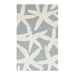 """Surya - Surya Boardwalk BDW-4013 (White, Powder Blue) 2'6"""" x 8' Rug - The two-toned rugs of the Boardwalk collection come in sky blues, ocean greens, and sandy greys. In the same way the lapping of waves inspires relaxation, the ultra-comfortable wool used in the construction of these rugs will have a similar effect."""