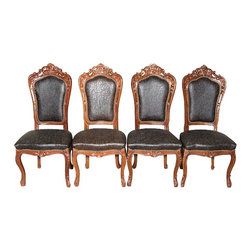 MBW Furniture - Set 4 Mahogany Carved High Back Dining Side Chairs w/ Faux Leather - This is a beautiful set of 4 mahogany high back dining side chairs. The seats and backs are made of high quality faux leather in brown and is upholstered with tacks. They feature gentle curved legs with scroll feet as well as fabulous hand carved motifs on the top rails. These chairs have many elements of the French Provencal design, therefore they would work well with High Style or French Country decor but is certainly not limited to those styles. One of them is lighter than the rest but it is easily overlooked. These chairs are showroom models and may have some minor imperfections and scratches including fabric imperfections but as shown they are in very good condition. They are shipped assembled.