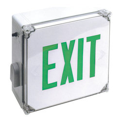 Elco - Elco EE22GW Weatherproof LED Exit Sign - Elco EE22GW Weatherproof LED Exit Sign with Green Letters and Battery BackupElco Lighting's high quality, affordable Exit and Emergency fixtures provide a variety of different styles and benefits designed to meet the requirements of any application. Dual voltage options (120 and 277 VAC), brown-out activation (unit automatically switches to emergency mode if supply voltage drops below 80%), automatic low-voltage disconnect, thermal protection, short circuit protection and reverse polarity protection are just a few of the important standardized features of these products.Features: