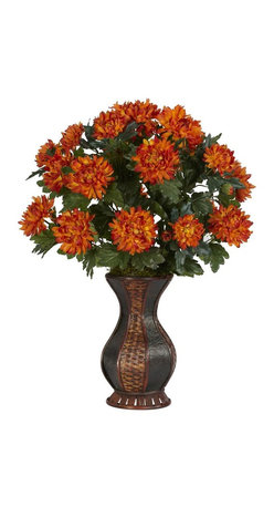 """Nearly Natural - Spider Mum w Urn Silk Plant - Will catch the attention of anyone who sees it. Add a touch of color to your decor. Includes a sensational two-toned urn. Construction Material: Polyester material, Iron wire, Wood & PVC Leather. 23 in. W x 23 in. D x 29 in. H ( 5 lbs. ). Pot Size: 6.5 in. W x 12.5 in.HIf you love color, then this is the plant for you.  Blossoming at 29"""" tall, this spectacular Spider Mum will catch the attention of anyone who walks into the room.  With rich, warm colors emanating from every flower petal, and surrounding, vibrant leaves, this is truly an amazing arrangement.  Complimented by a sensational two-tone urn, this is a Spider Mum you won't mind being caught by."""
