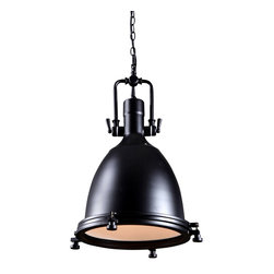 Reclamations - MARINER Art Deco Design, Pendant Light - The Mariner pendant light is inspired by lights found in coastal ship yards and fish canneries during the 1930's Finish; Matte black powder coated steel.