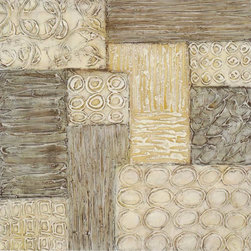 Paragon Decor - Medley Artwork - Cream and shades of brown create an engaging patchwork design.  Features gallery style wrap.