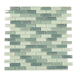 "Euro Glass - Passion Blue  Uniform Brick Blue Crystile Blends Glossy & Frosted Glass - Sheet size:  11.75"" x 11.75""        Tile Size:  5/8"" x 2""        Tiles per sheet:  108        Tile thickness:  1/4""        Grout Joints:  1/8""        Sheet Mount:  Mesh Backed        Sold by the sheet    -  Our Crystile Series offers a wide range of hues to suit your mood and your style! The vibrancy and depth of our crisp smooth glass results in a unique and dramatic effect for use in both residential and commercial installations.  The Crystile Series is virtually limitless in its range of applications and is suitable for the following walls backsplashes and any area just waiting to be transformed by light and color! Our sheets of mesh-mounted glass can be used to produce and endless variety of field patterns borders and medallions. This Series is ideal for use alone or as an exquisite complement to ceramic and natural stone materials. Let creativity be your guide. Crystile tiles are are easy to clean and maintain. Our tiles will never discolor and will continue to provide a smooth and luxurious appearance for many years to come."
