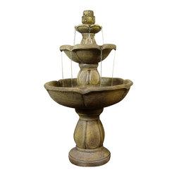 "Sunnydaze Decor - Birds Delight Outdoor Water Fountain - 35"" Tall x 21"" Diameter, Fountain Weight: 23 lbs."