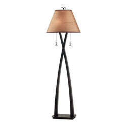 Kenroy - Kenroy KR-20101-ORB Wright Transitional Floor Lamp - Asian-inspired tapered arches give the clean lines of Wright an exotic presence.  Sculptural, with the feeling of forged construction, the Wright family is finished in Oil Rubbed Bronze and warm toned shading.