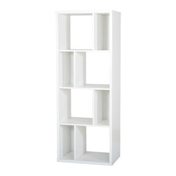 South Shore - 8-Compartments Shelving Unit - Accessories not included. Non toxic laminated particle boards. Designed to maximize storage in all the rooms of your home. Contains four large open storage spaces. Accessible from both sides and separated by fixed shelves. Contains four small open storage spaces with closed backs. Separated by fixed shelves. Back surface is laminated, so it can be used as a room divider. Safety secure is provided to attach the bookshelf against the wall. Warranty: Five years. Pure white color. Made in Mexico. Assembly required. 23.5 in. W x 14.5 in. D x 61.5 in. H (93 lbs.). Assembly InstructionsWhether for a need of privacy or extra storage, the Reveal collection will certainly add a touch of originality to any room. This multi-functional piece of furniture is characterized by its versatility; it can be placed flat against the wall like a bookshelf, perpendicular to the wall to act as a room divider, or on its side. Combine more than one and place them side by side for additional storage possibilities.