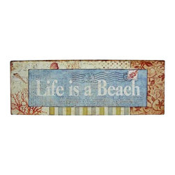 "Handcrafted Model Ships - Wooden Life Is A Beach Sign 19"" - Nautical Decor - Immerse yourself in the warm ambiance of the beach, imagining golden sands between your toes as you listen to the gentle sound of the surf, while you enjoy Handcrafted Nautical Decor's fabulous Beach Signs. Perfect for welcoming friends and family, or to advertise a festive party at your beach house, bar, or restaurant, this Wooden Life Is A Beach Sign 19"" will brighten your life. Place this beach sign up wherever you may choose, and enjoy its wonderful style and the delightful beach atmosphere it brings."