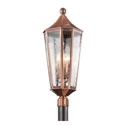 Joshua Marshal - Four Light Antique Copper Post Light - Four Light Antique Copper Post Light