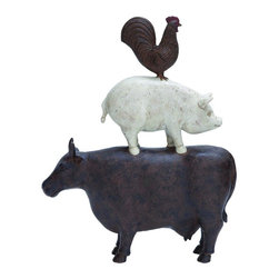 Woodland Imports - Farm Animal Cow Pig Rooster Stacked Antique Finish Grey White Statue Decor 44703 - Farm animal cow pig rooster stacked antique finish grey white statue living, dining, and family room Decor