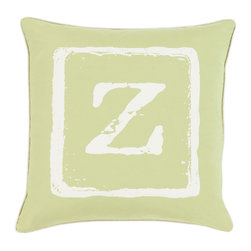 """Surya - Surya BKB-035 Pillow, 18"""" x 18"""", Poly Fiber Filler - Add a personal stamp to your space with the inclusion of this utterly perfect pillow. Hand made in India of 100% cotton, the boldly printed initial in smooth coloring effortlessly permits for a private touch while simultaneously embodying divine design from room to room within any home decor."""