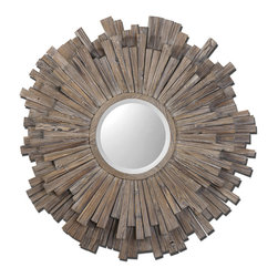 "Uttermost - Vermundo Wood Mirror - Wide, 14"" Wood Frame With A Light Walnut Stain With Burnished Details. Mirror Is Beveled."