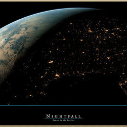 Amanti Art - Nightfall: Sunset in the Rockies Framed Print by ARC - This art piece features a view from outer space as night falls on the Rockies.
